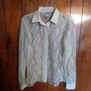 White lace collar blouse shirt long sleeve
